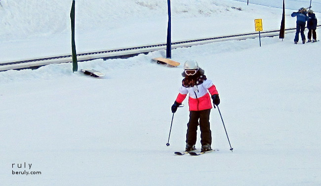 My daughter got her first lesson in using ski poles from her Utah instructors.