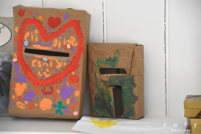"""I loved the plea on my other daughter's box """"Please give candy.""""  And another """"mud"""" creation from my son."""