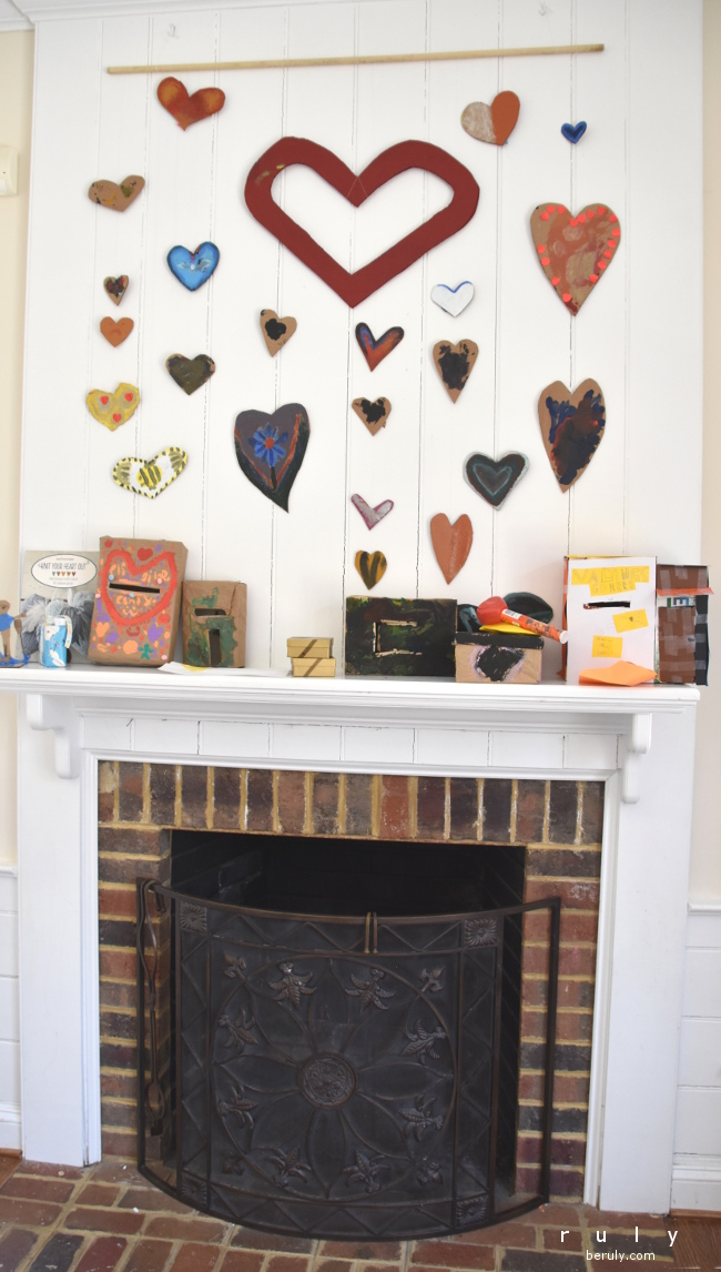 We hung up all the creations on our mantel and I just loved looking at it.