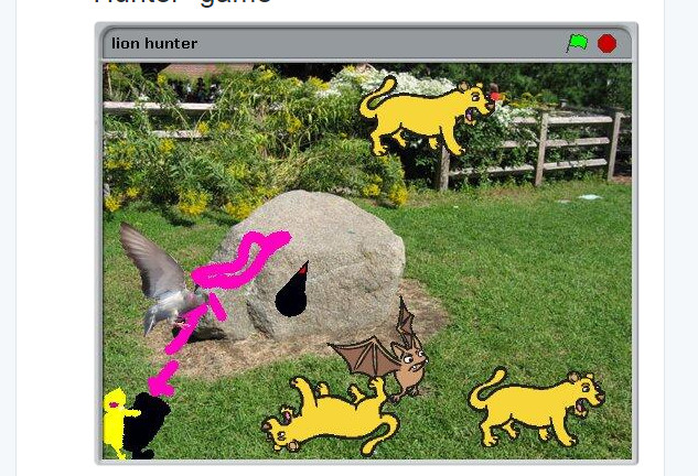 """My daughter's first Scratch  game: """"Lion Hunter"""""""
