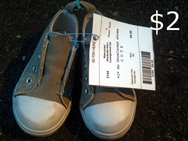 """Baby converse-like shoes.  I agree with the """"cute"""" label on the tag."""