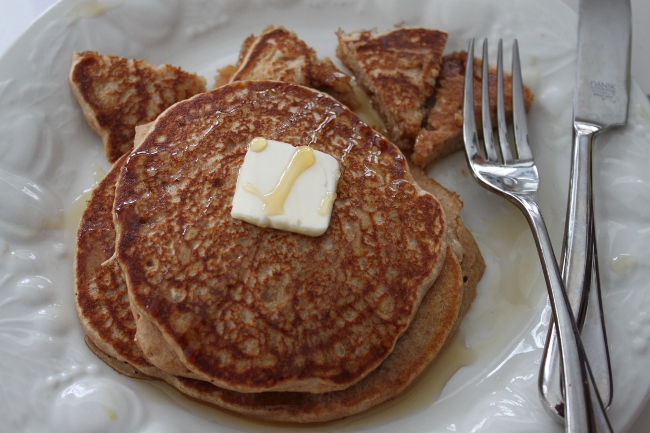 The best part of whole wheat pancakes is that you can eat more than one guilt free!