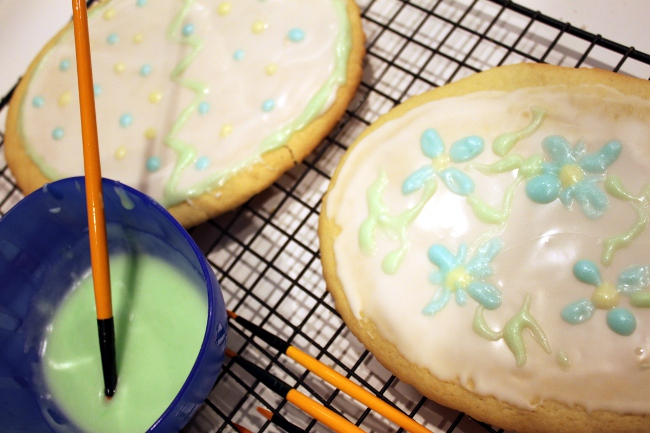 The fun part is painting the cookies.