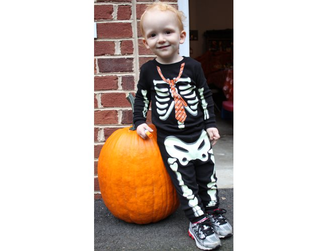 My one Halloween-clothing purchase this year was a pair of hilarious glow-in-the-dark skeleton pajamas for my son.