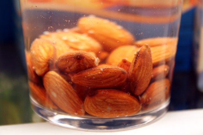 Soaked almonds for a snack.  Apparently the soaking makes them easier to digest.