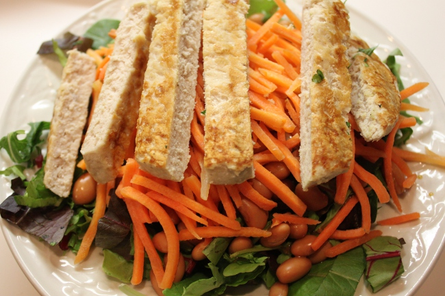 Day One fasting salad: turkey, carrot, bean.