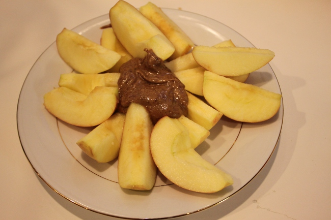Snack of apples and almond butter.  I went with two apples this time because they were both small.