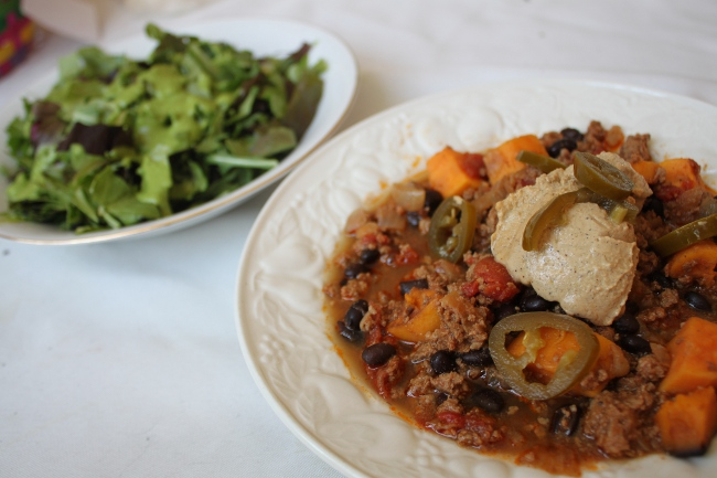 The imperious sweet potato chili and salad with parsley dressing.