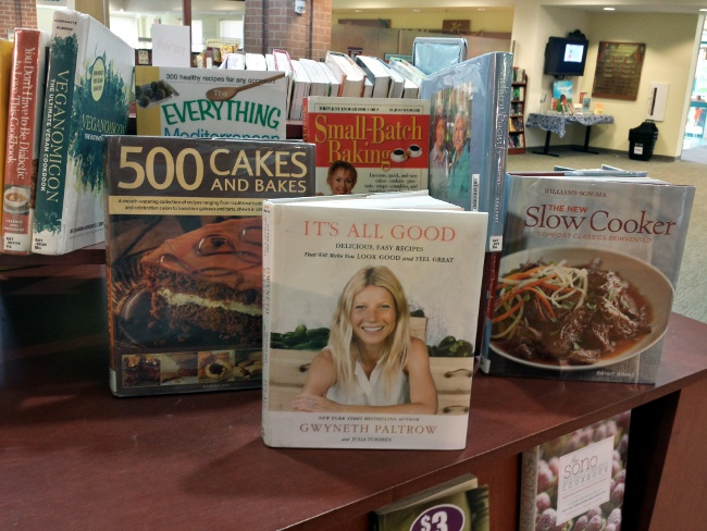 """It seems I am not the only Fredericksburg fan of """"It's All Good.""""  Look who is featured prominently on the library cookbook display!"""