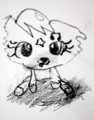 Drawing of the same toy about 3 weeks later in our lessons.
