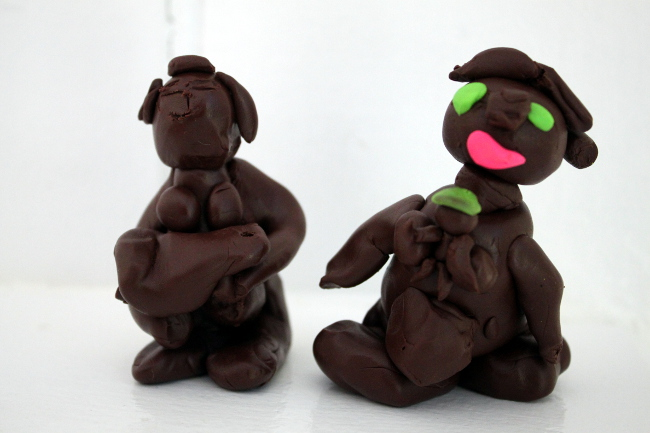 Our Congo art project: interpretations of Luba fertility sculptures.
