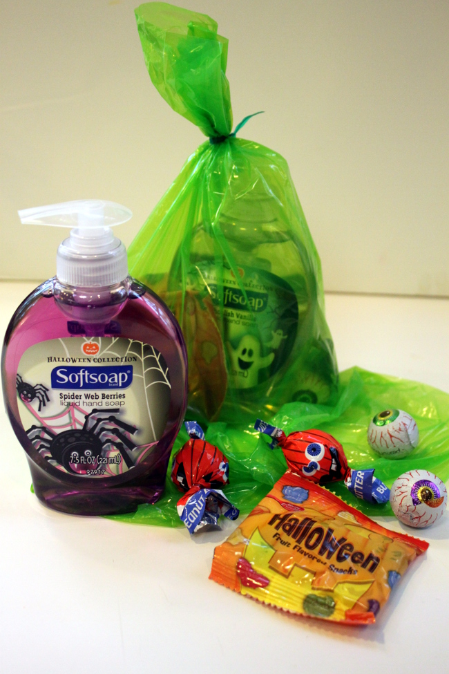 Our treat sacks this year included Halloween hand soap, fruit snacks, Halloween-themed Pop Tarts and a few chocolates.