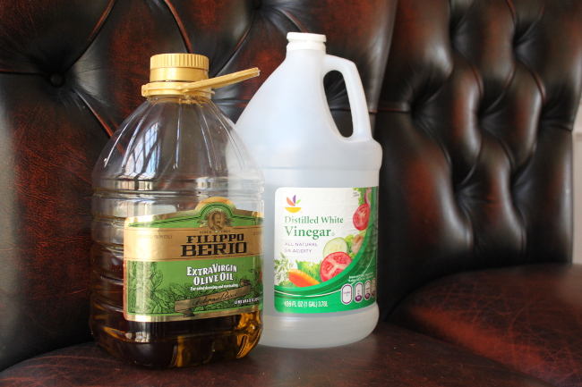 Olive oil and vinegar for cleaning leather.  Who would have thought?