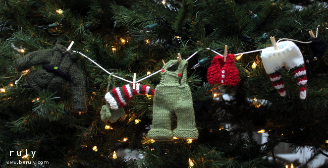 """The knitted """"elf clothesline garland"""" by Rhonda Brewer that has been on my """"to knit"""" list forever."""