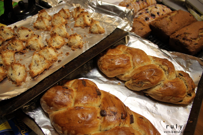 A baking extravaganza!  Homemade macaroons, challah bread, cranberry orange and lemon blueberry bread.