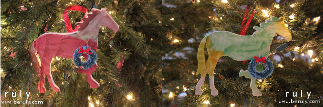 Painted horse ornaments my girls made with their cousin at a Christmas-themed horse-riding event.