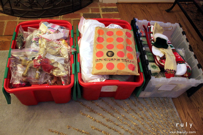 The Christmas tree ornaments and mantel decorations packed nicely into 3 bins.