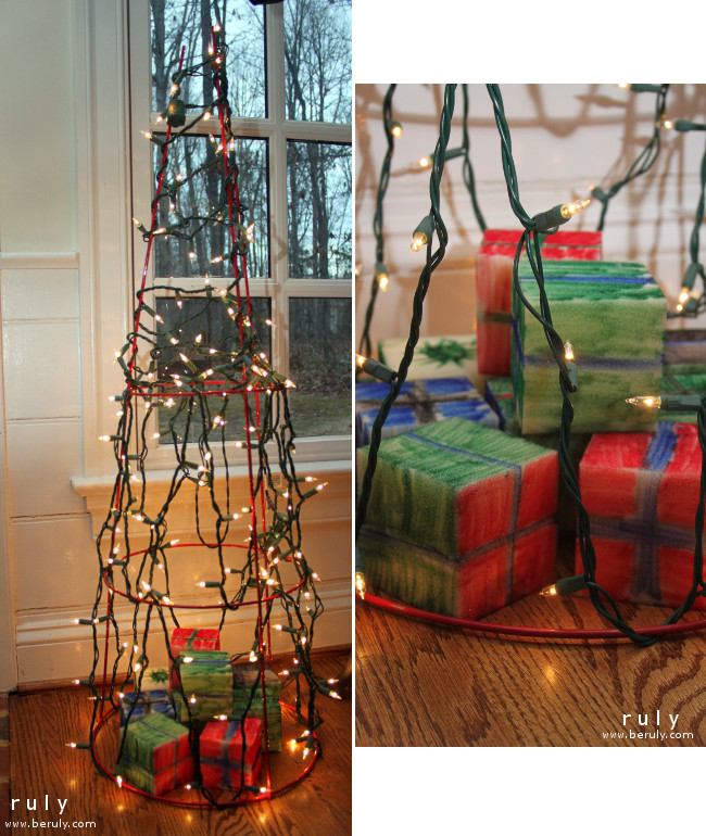 """Our tomato cage """"trees"""" with foam block """"presents."""""""