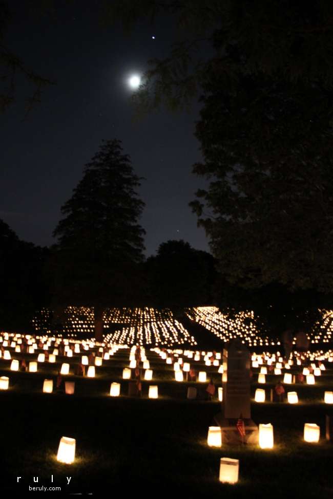 Lanterns on the battlefield for Memorial Day.