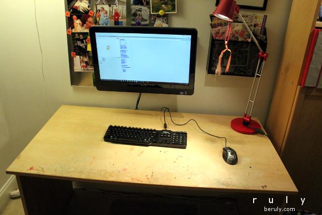 The desktop before.  Functional but battered.