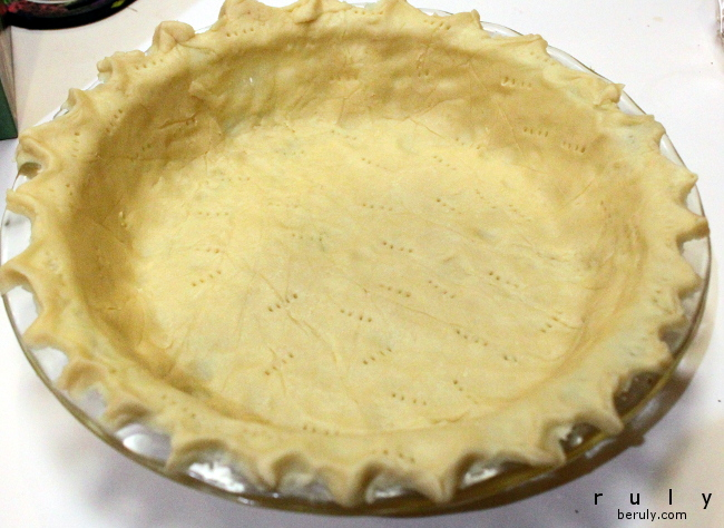 My homemade pie crust.  Not that difficult to make and tastes like a butter cookie when baked!