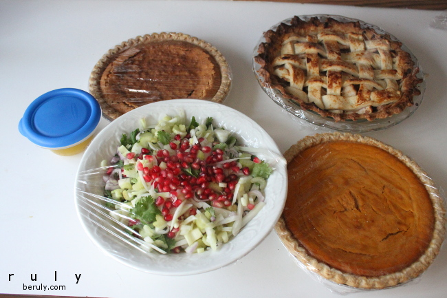 The finished pies and salad.  I learned a trick from my sister-in-law that pomegranate seeds on your Thanksgiving table add instant elegance.