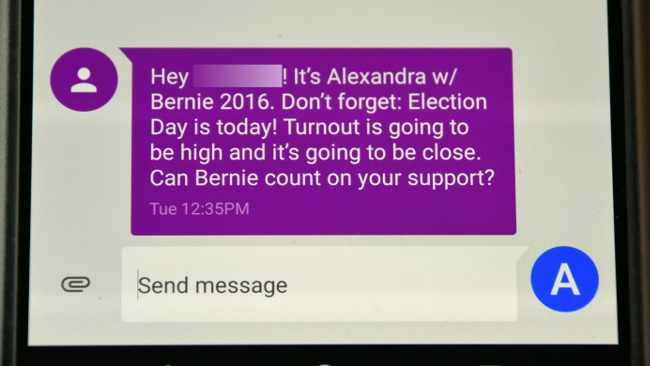 Bernie's text to me.  I don't know how his campaign got my cell phone number.