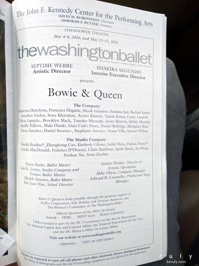 program for Washington Ballet's Bowie & Queen