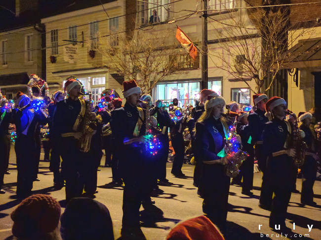 marching band with lighted instruments